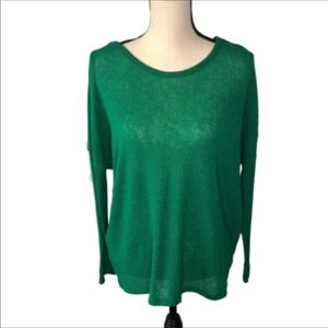 Alya Sheer Green Cut Out Back Sweater Small